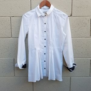 Burberry | White Collared Pleated Button Up Top